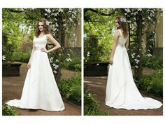 APPLIQUE ACCENTS RUCHED WAIST TRIM A-LINE LUCKY WEDDING DRESS