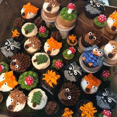 Check out how displayed the woodland themed cupcakes at her clients camping themed party yesterday! ❤️ Always a pleasure working with you Stacey! You always have the most fun projects :) 1st Birthday Cupcakes, Cupcakes For Boys, Baby Cupcake, Baby Shower Cupcakes, Themed Cupcakes, 1st Boy Birthday, Baby Boy Shower, Birthday Parties, Animal Cupcakes