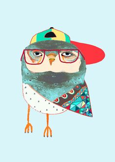 Hat Owl. Awesome childrens illustration, kids art print, poster. via Etsy