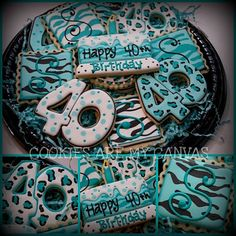 40th birthday zebra print cookies