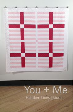 You  Me a PDF modern quilt pattern by by HeatherJonesStudio (Craft Supplies & Tools, Patterns & Tutorials, heather jones studio, heather jones, olive and ollie, modern quilting, modern quilt pattern, solid fabric pattern, sewing, stripe, pdf pattern, quilting pattern, you plus me, you and me, pink)