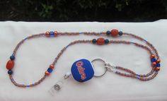Florida Gators Beaded Lanyard ID Badge by TheLanyardNecklace, $30.00