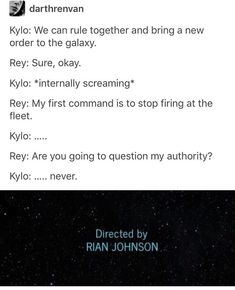 While this is funny, he did tell her to let the rebels die when he offered her this. I want her to join him as much as the next shipper, but I'm glad she didn't take that offer, because he's still not Ben Solo yet. He's still holding onto that darkness and once it's gone then I hope to god she joins him.