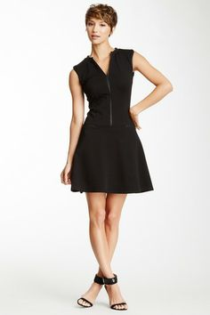 Leather Trim Flare Dress by My Tribe on @HauteLook