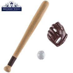 Miniature Baseball Bat, Glove & Ball