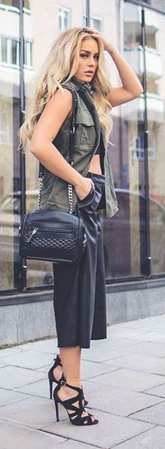 Black Leather Culottes Downtown Fall Inspo by Angelica Blick