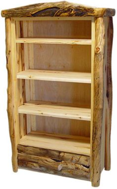 Our log furniture is handmade in custom sizes. This rustic bookcase is crafted from natural aspen logs for cabin, lodge, and mountain decors. Cedar Furniture, Rustic Log Furniture, Steel Furniture, Diy Furniture, Furniture Removal, Furniture Stores, Furniture Online, Rustic Bookshelf, Wooden Bookcase