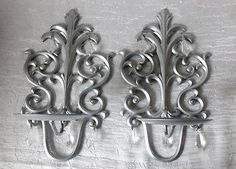 Wall-Metal-Sconce-Silver-Candle-Holders-with-Crystals-Set-of-2-Home-Decor