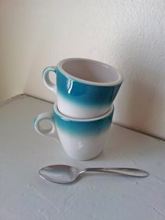 Aqua Diner Coffee Cups - Two Mayer China Beaver Falls PA Mugs Made in USA 1950s