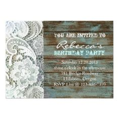 blue country lace barnwood vintage birthday party personalized invite