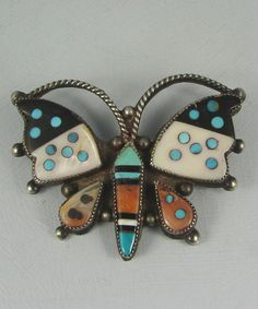Old Zuni Mosaic Inlay Dotted Butterfly Pin | eBay