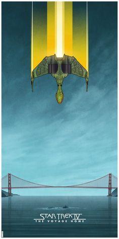 Star Trek IV: The Voyage Home by- Matt Ferguson. My favorite Star Trek movie! New Star Trek, Star Wars, Star Trek Tos, Deep Space Nine, Star Trek Posters, Star Trek Series, Star Trek Into Darkness, Star Trek Original, Starship Enterprise
