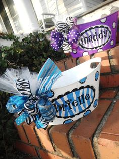 Monogrammed Basket....Great For Parties, Birthday Presents, Babies Gifts, Wedding Or Bridal Gifts
