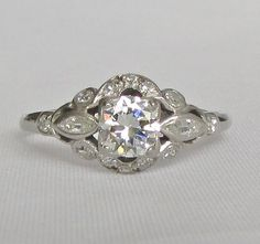 Art Deco PLATINUM Diamond Engagement Ring - VS1 Center Diamond, .75 CTW - GIA Appraisal Included 3,850 Usd! Photos Do Not Do This Justice! by Ringtique on Etsy