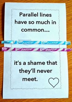 FREE Parallel Lines Poster Cards - Print these humorous parallel lines cards for Valentine's Day or hand them out as mini-posters at any time of the year! I add candy sticks or pencils to the parallel lines to make a fun, math-y Valentine's Day card!