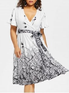 Plus Size Graphic Plunging Neck Dress