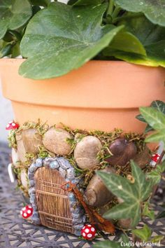For a quick garden that doesn't take up much room, add a whimsical fairy door to a terra cotta pot on your back porch. Get the tutorial at Crafts Unleashed.