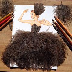 Edgar Artis feather dress