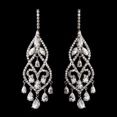 Fabulous Cz Chandelier Bridal Earrings Silver Gold And Rose