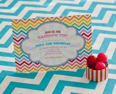 CHEVRON RAINBOW Birthday Party Invitation  Rainbow by andersruff, $18.00
