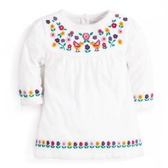 Can you resist this gorgeous piece? Beautiful embroidered flowers and birds feature on a simple tunic, turning a basic into an extra special style. Simple Tunic, Winter Kids, Embroidered Tunic, Kids Outfits, Cream, Pretty, Sweaters, Cotton, Clothes