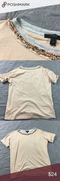 febe43e38c016d J. Crew Jeweled Tissue Weight Tee Super feminine and cute! Jeweled collar  and soft