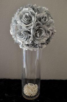 Elegant Wedding Silver WEDDING CENTERPIECE hanging by KimeeKouture