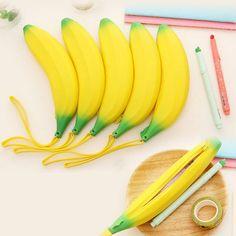 1pcs hot sale novelty banana pencil case kawaii pencil bag rubber coin purse estuches school supplies stationery gift H0017 #Affiliate