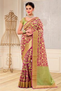 The Stylish And Elegant Saree In Magenta Colour Looks Stunning And Gorgeous With Trendy And Fashionable Embroidery,Zari Work . The Banarasi,Silk Party Wear Saree Looks Extremely Attractive And Can Add Charm To Any Occasion. It Comes With Matching Blouse Fabric Of 0.80 Meters & Can Be Stitched Upto 42 Inches. - See more at: http://www.ninecolours.com/sarees/banarasi-and-silk-party-wear-saree-in-magenta-colour-sr1210835#sthash.wQl6xsBo.dpuf