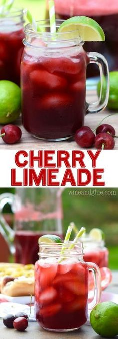 This Cherry Limeade is delicious, refreshing, and so easy to make! Perfect for summer! This Cherry Limeade is delicious, refreshing, and so easy to make! Perfect for summer! Fruit Drinks, Smoothie Drinks, Non Alcoholic Drinks, Party Drinks, Cocktail Drinks, Smoothie Recipes, Cocktails, Limeade Drinks, Cold Drinks