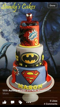 Awesome birthday party cake with superman, Spiderman and Batman represented in this 3 layered cake masterpiece. Marvel Cake, Superman Cakes, Batman Birthday, Superhero Birthday Party, 4th Birthday, Birthday Ideas, Avenger Cake, Superhero Cake, Character Cakes