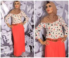 red skirt hijab look