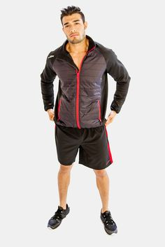 Buy Mens Black Jacket with Red Borders Online - Alanic Activewear Gym Jacket, Running Jacket, Jogging, Winter Running, Jackets Online, Sport Outfits, Hooded Jacket, Active Wear, Clothes