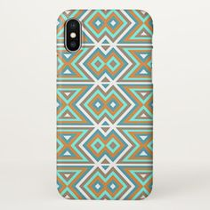 Orange Teal Turquoise Green Tribal Mosaic Pattern iPhone X Case - rustic gifts ideas customize personalize