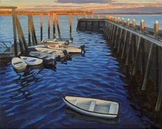 Chebeague Island Dock at Sunrise Oil on linen, 8″ x 10″, 2016  The setting is the Chebeague Island Ferry dock in Maine. Littlejohn Island is in the background, lit up by the morning light. …