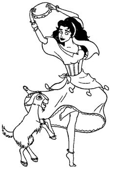 Esmeralda Dance With Djali Kids NetColoring Pages