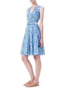 Akris Chefchaouen-Print Belted Pleated Dress