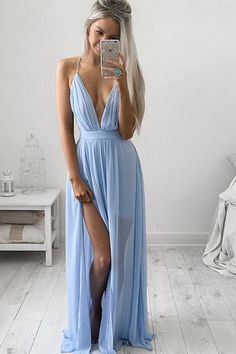 Elegant V-Neck Long Prom Dress Chiffon Floor Length                                                                                                                                                                                 More