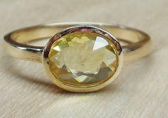 1.16ct Canary Yellow Sapphire VS1 Rose Cut Bezel Set 14k Yellow Gold Handmade Alternative Engagement Ring Custom Made OOAK on Etsy, $650.00