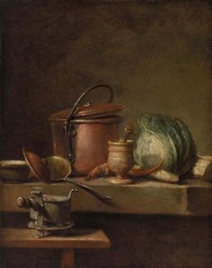 Attributed to Jean-Siméon Chardin  French, 1699–1779  Still Life with Copper Pot, Cabbage, Pestle, and Stove (Table de cuisine avec marmite de cuivre, chou, égrugeoir et réchaud)    between 1732 and 1740  Oil on canvas  16 1/8 x 13 in. (41 x 33 cm)