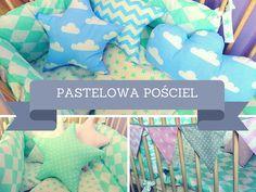 """Przepadam wręcz za pastelami, stąd moje """"produkcje"""": miętowa pościel, błękitne poduszki i wzorzyste girlandy."""
