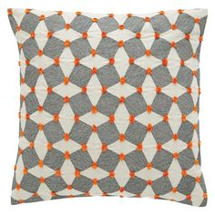 The Irina black and orange embroidered cushion is an intricate and appealing design comprising cube and tile shapes with vibrant, tiny pompoms. Buy now at Habitat UK.