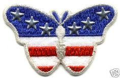 BUTTERFLY PROUD TO BE AN AMERICAN IRON ON APPLIQUE