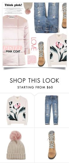 """""""Hey, Girl: Pretty Pink Coats"""" by anne-symanski-goranson ❤ liked on Polyvore featuring Burberry, Hollister Co., Jocelyn, SOREL, Topshop, contestentry, pinkcoats and trendreport"""