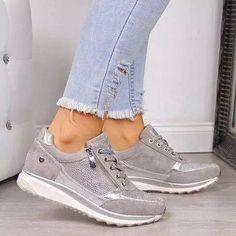 US$ 45.79 - Women's Low Heel Lace Up Sneakers - www.insboys.com Gold Sneakers, Platform Sneakers, Casual Sneakers, Leather Sneakers, Women's Casual Shoes, Ladies Sneakers, Shoes Sneakers, Casual Loafers, Comfy Shoes