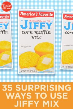 35 Surprising Ways to Use Jiffy Mix Jiffy Cornbread Mix is one of the most recognized products on market shelves, which makes it the perfect star ingredient for these recipes. Sweet or savory, you're going to love what this little box can do. Jiffy Mix Recipes, Jiffy Cornbread Recipes, Cake Mix Recipes, Cornbread Cake Mix Recipe, Sweet Potato Cornbread, Corn Muffin Mix, Biscuit Mix, Favorite Recipes, Bisquick
