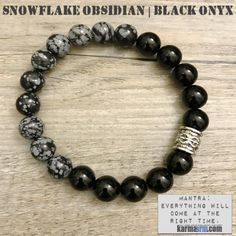 Bracelet | Mens Womens | beaded yoga mala charm. karma arm stacks.  snowflake obsidian Black Onyx. #LOA #onyxbraceletwomen