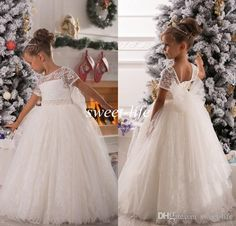 2015 Lovely White Lace Flower Girl Dresses for Wedding Cheap Short Sleeves Bow Sash Beads Kids Christmas Communion Dress Girls Pageant Dress Online with $81.28/Piece on Sweet-life's Store | DHgate.com