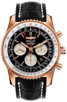 Breitling Navitimer Rattrapante Limited Edition Black Dial Rose Gold Case and Brown Leather Strap Men's Watch Breitling Navitimer, Breitling Watches, Vintage Watches For Men, Luxury Watches For Men, Tag Heuer, Gold Case, Mens Rose Gold Watch, Swiss Army Watches, Citizen Watch