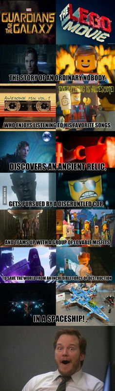 """proof that """"Guardians Of The Galaxy"""" and """"The Lego Movie"""" have the same plot. Also, they both have Chris Pratt. :)Undeniable proof that """"Guardians Of The Galaxy"""" and """"The Lego Movie"""" have the same plot. Also, they both have Chris Pratt. Funny Marvel Memes, Marvel Jokes, Dc Memes, Avengers Memes, Marvel Vs, Lego Memes, Lego Film, Lego Movie 2, Stupid Funny"""
